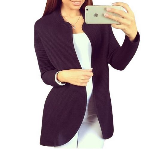 เสื้อคลุมแขนยาว เสื้อ Jacket ผู้หญิง แบบเสื้อสูท สีดำ สามารถใส่ในที่ทำงานได้ แบบสุภาพ เรียบร้อย เสื้อกันหนาว แขนยาว ใส่ในออฟฟิต เก๋ ๆ 825340_1