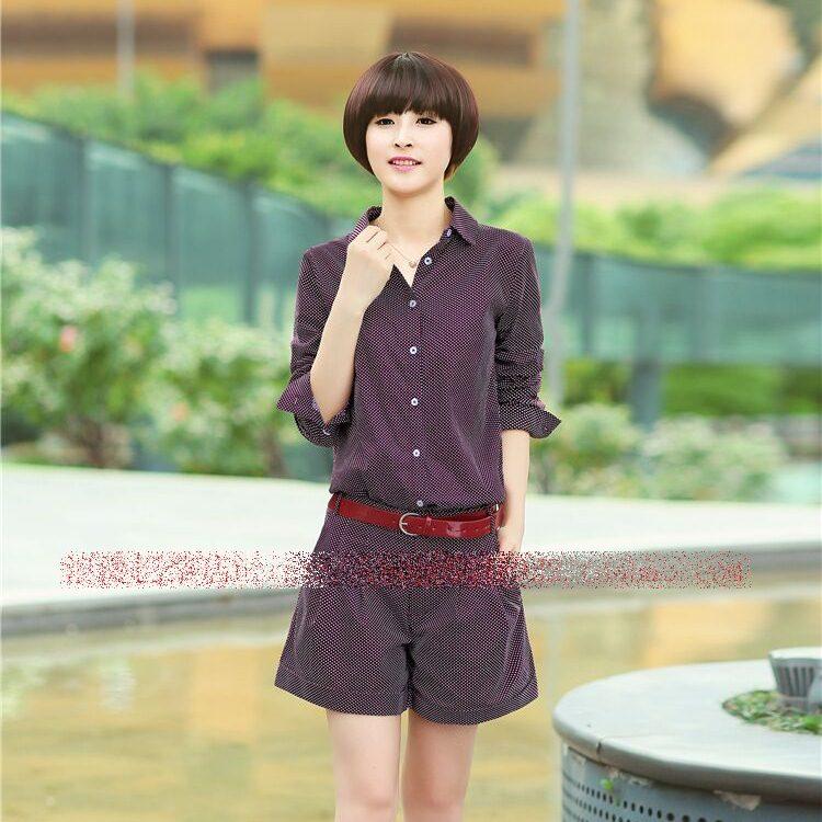 **สินค้าหมด Set_bp1376 ชุดเซ็ท 2 ชิ้น(เสื้อ+กางเกง)แยกชิ้น เสื้อคอปกเชิ้ตกระดุมหน้าแขนยาว+กางเกงขาสั้นซิปหน้ากระเป๋าข้าง ผ้าคอตตอนเนื้อดีลายจุดสีเลือดหมู