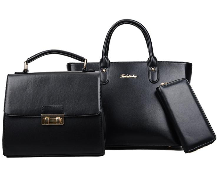 [ พร้อมส่ง Hi-End ] - กระเป๋าแฟชั่น Set 3 ชิ้น สีดำคลาสสิค ดีไซน์แบรนด์ดัง งานหนังคุณภาพ แบบมันเงาสวยหรู คุ้มค่าสุดๆ