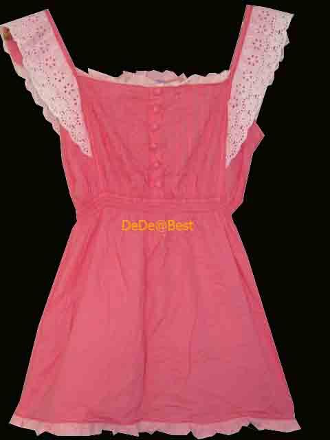 ขายแล้วค่ะ T25:2nd hand top เสื้อสายเดี่ยวสีชมพู ชายลูกไม้สวยหวาน&#x2764