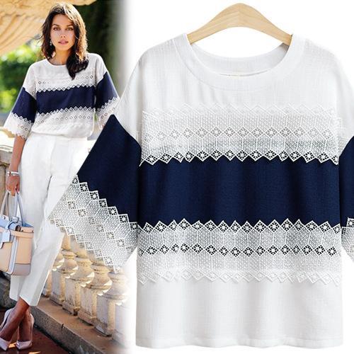 เสื้อทีเชิ้ตตกแต่งผ้าลูกไม้สีน้ำเงินเข้ม-ขาว (XL,2XL,3XL,4XL,5XL) NV-8169