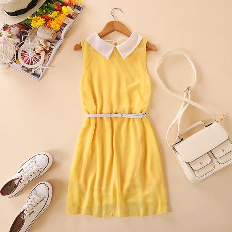"""""""พร้อมส่ง""""เสื้อผ้าแฟชั่นสไตล์เกาหลีราคาถูก เดรสแขนกุดสีเหลือง คอปกสีขาว กระดุมหลังคอ1เม็ด มีซับใน มีเข็มขัดให้เหมือนแบบ"""