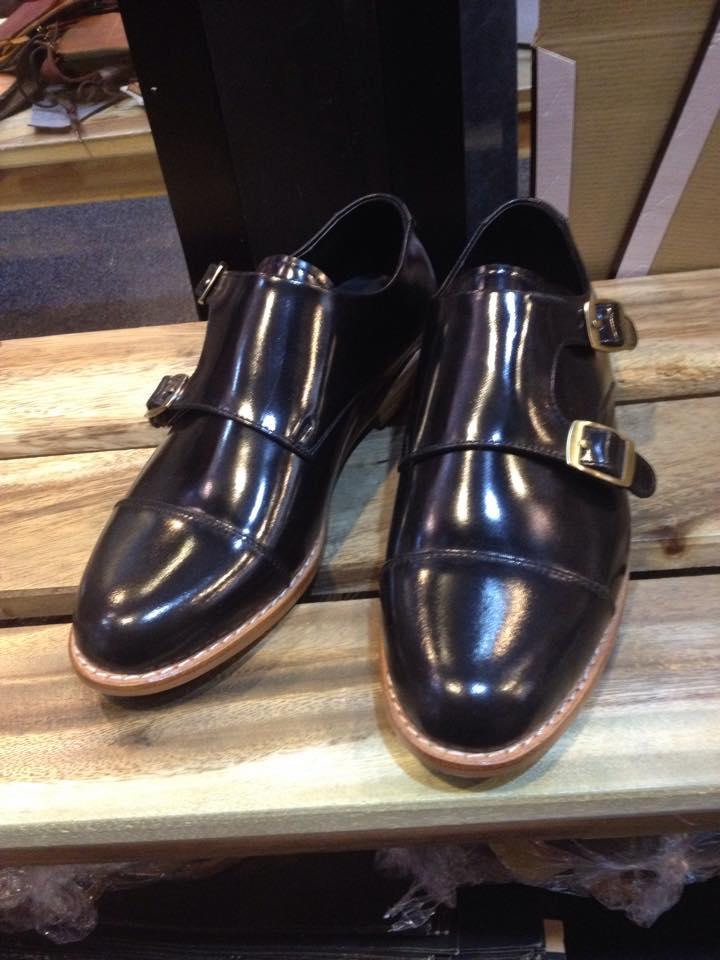 รองเท้าผู้ชาย | รองเท้าแฟชั่นชาย Black Double Monk Strap หนังแท้ ขัดเงา