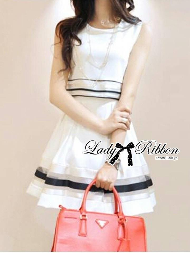 Lady Ribbon's Made Lady Jemina White Navy Strippy Dress