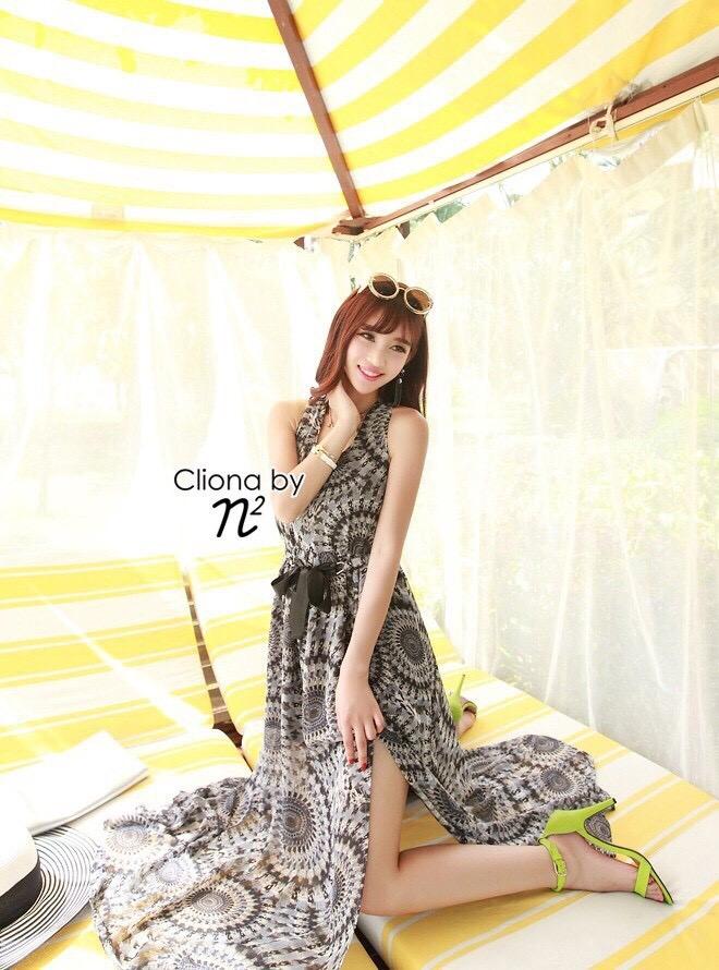 Cliona made' Lucy Charming Grey Summer Beach Long Dress