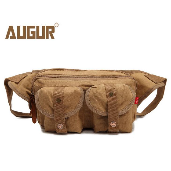 กระเป๋าคาดเอว พร้อมส่ง สีกากี กระเป๋าคาด ผ้าแคนวาส มีช่องกระเป๋าด้านหน้า 2 ช่อง ออกแบบสวย