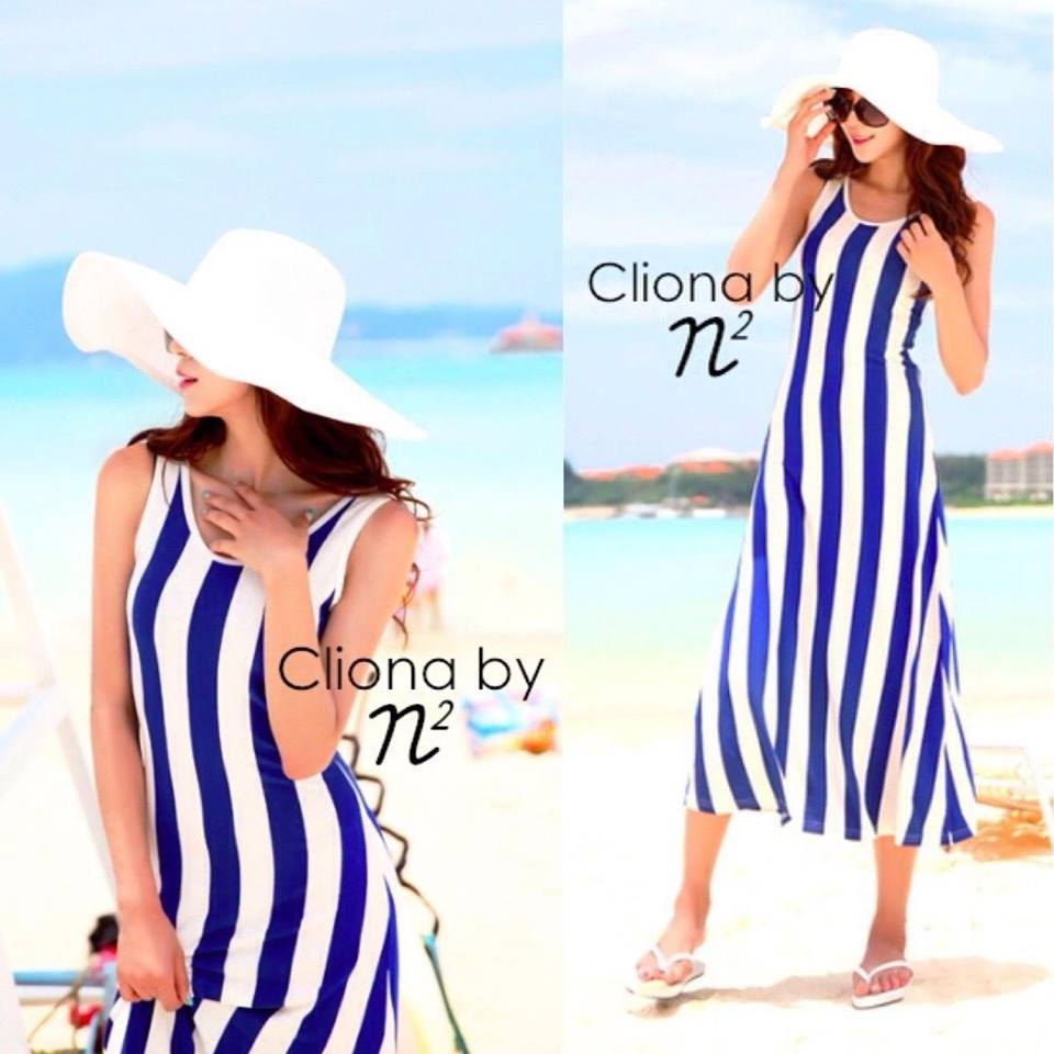 Cliona Made ,Body Shape Stripe Line Maxi Dress
