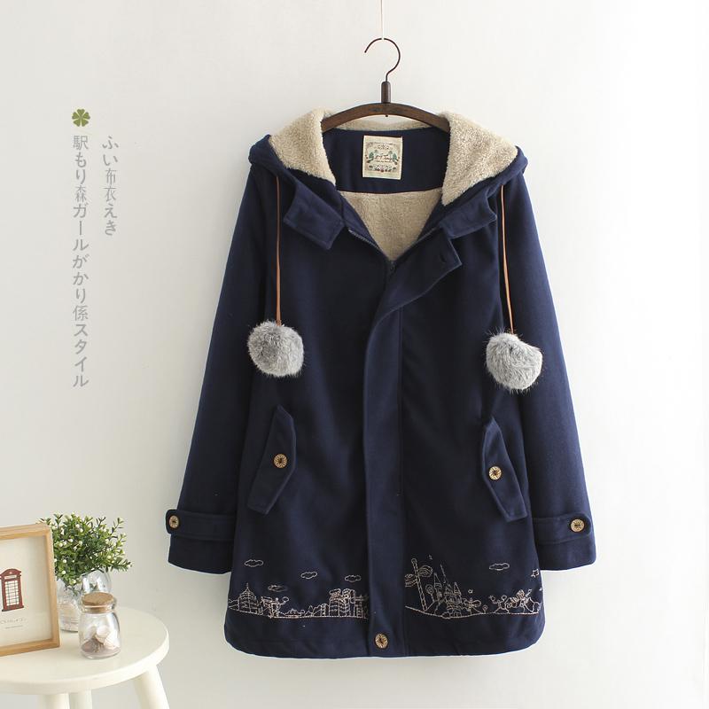 fashion เสื้อคลุมกันหนาว สีน้ำเงิน (รอสินค้า15-20วัน)