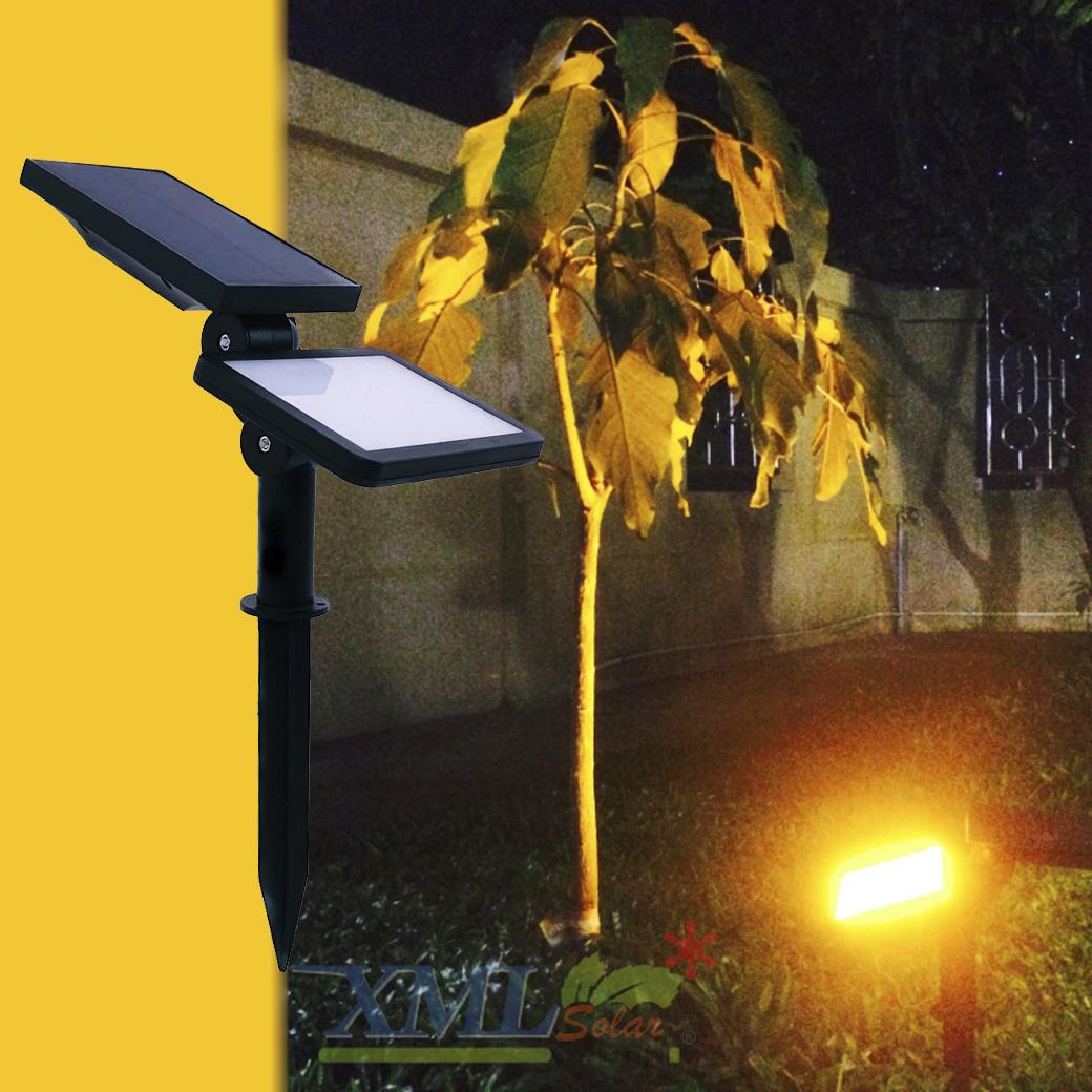 สปอร์ตไลท์ปักสนามโซล่าเซลล์ 48 LED (รุ่นเเบน) (เเสง : เหลืองวอมไวท์)