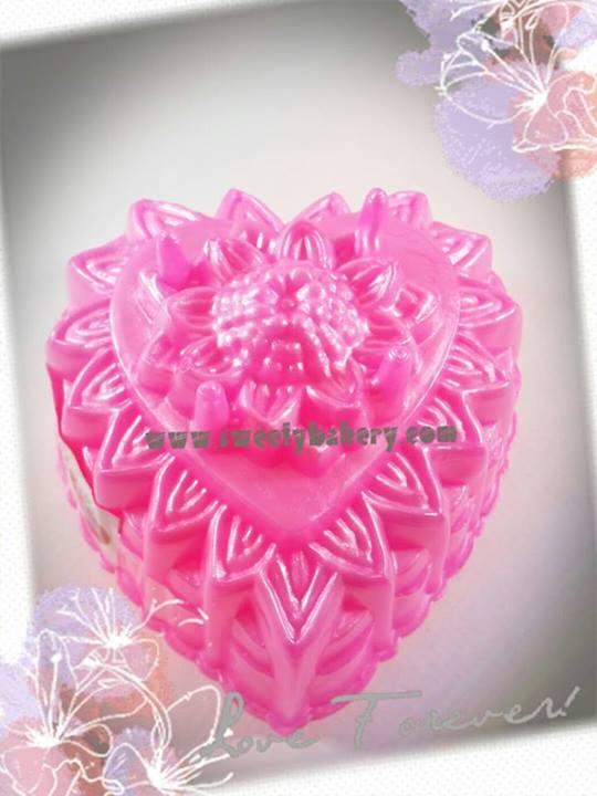 พิมพ์วุ้น สองชั้นรูปหัวใจ ลายดอกไม้ เบอร์ 8