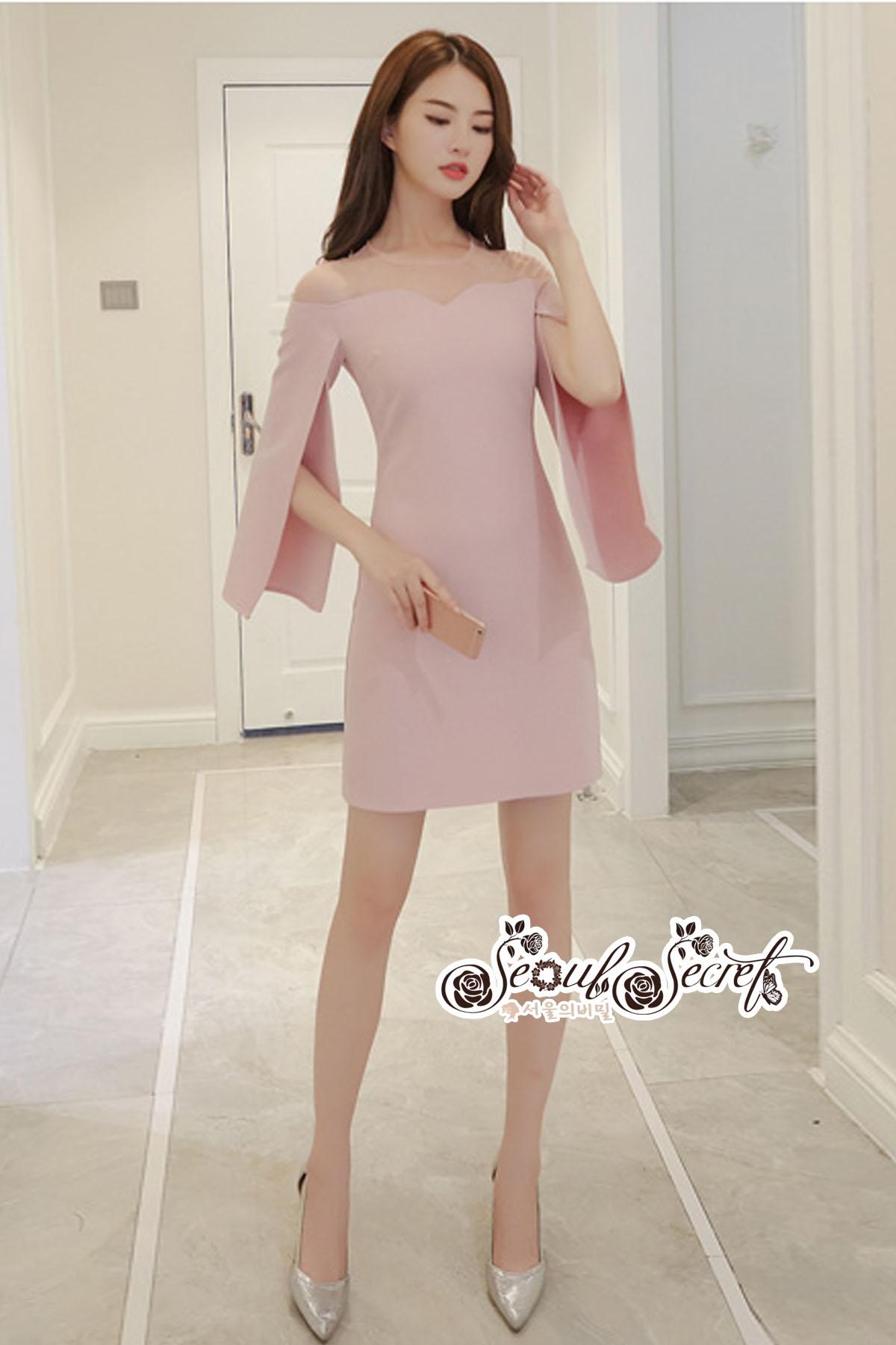 Minidress Light Pink Long Sleeve Chic Chic Dress
