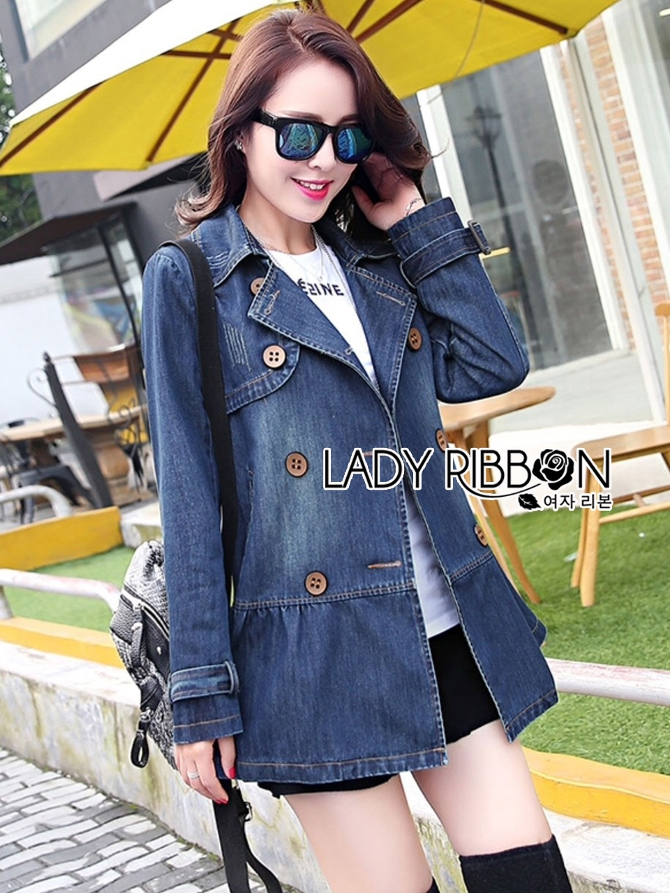 Sophie Winter Double-Breasted Washed Denim Coat