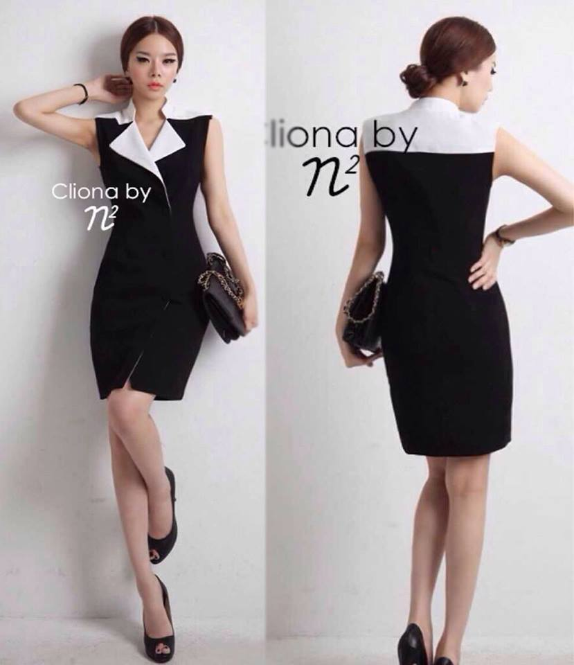 ( พร้อมส่ง ) Cliona Made ,Classic Tone Sassy & Smart Dress