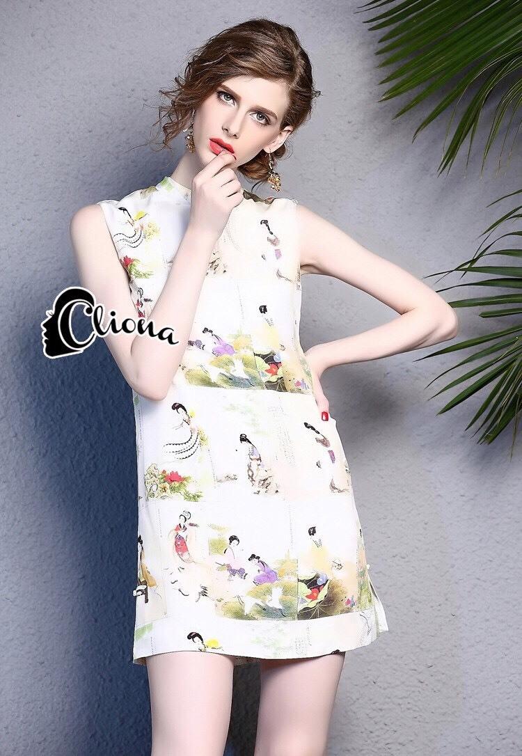 ชุดเดรสเกาหลี พร้อมส่งMini Dress ทรงคอจีน