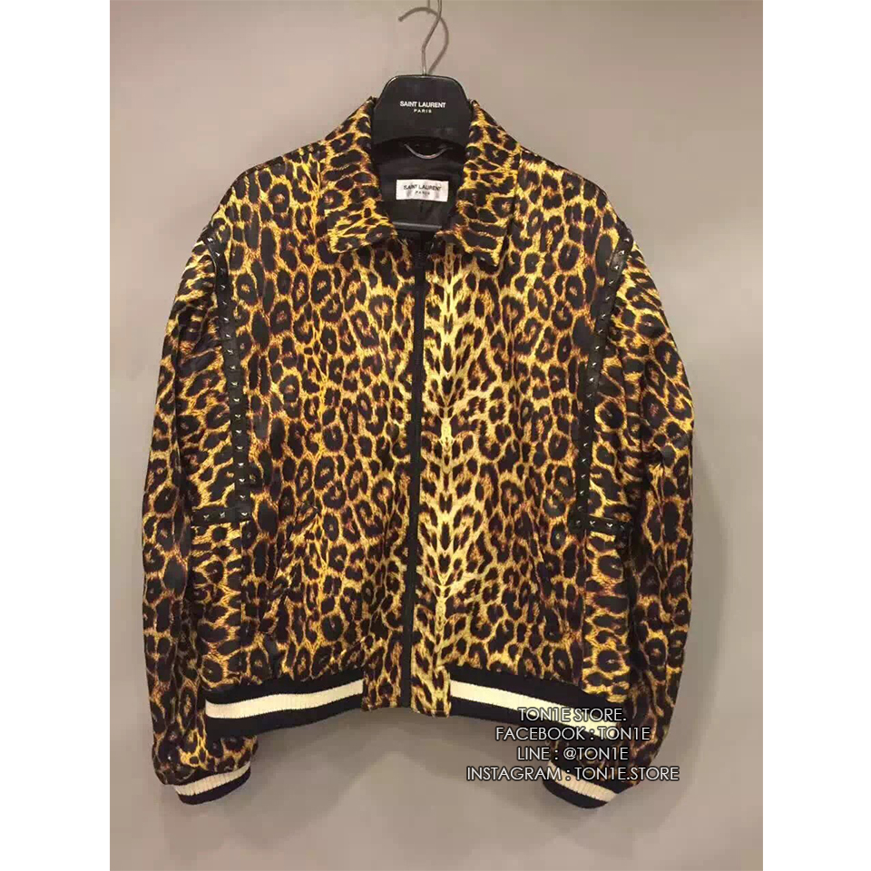เสื้อแจ็คเก็ต SAINT LAURENT Leopard Satin Jacket Print