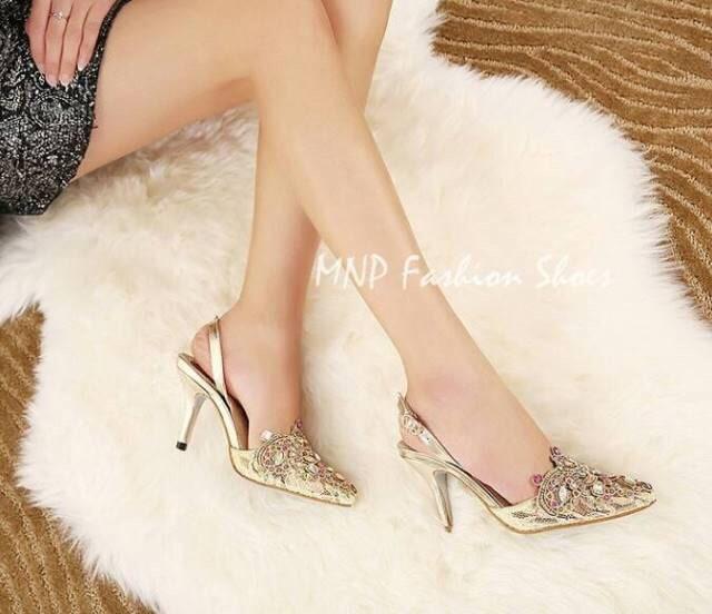 งานนำเข้า Style Rene Caovilla Metallic Leather Lace Jewel Pumps แบบขายดี @ รองเท้า Style Rene Caovilla