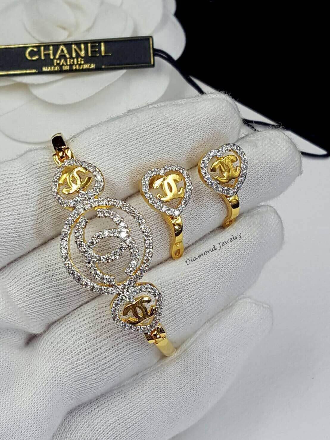 ต่างหู & กำไลข้อมือ Chanel งานทอง 5 ไมครอน