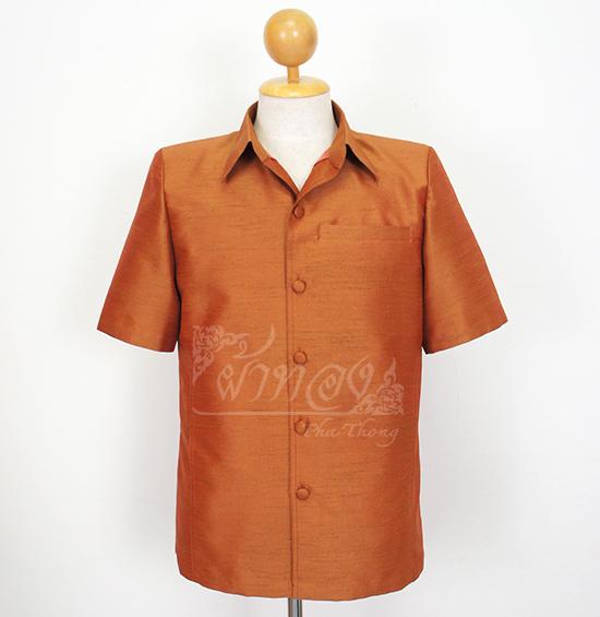 เสื้อสูทไหมแพรทอง สีน้ำตาล ไซส์ L