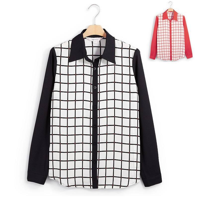 เสื้อเชิ้ตชีฟองลายตาราง สีดำ(Black)