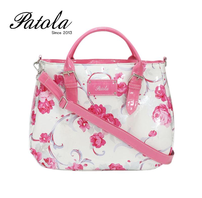 กระเป๋า Patola รุ่น AP หนังแก้วลายดอกไม้สีชมพู