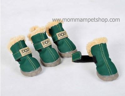 รองเท้าสุนัข รองเท้าแมว สีเขียวแบบผ้ากันลื่น (4 ข้าง)