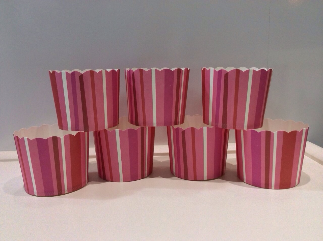 PC-EI-M60/55 STRIPE/P Muffin cup Stripe/PInk ลายทาง