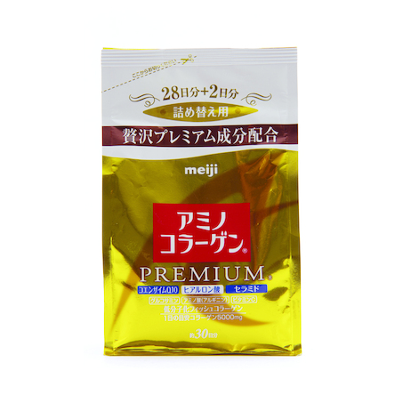 Meiji Amino Collagen Premium ชนิดถุงเติม ปริมาณสุทธิ 214 g. ราคา 1,290 บาท ส่งฟรี