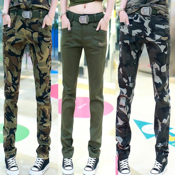 HW5906011 กางเกงทหารหญิงทรงหลวมสีเขียวกองทัพลายพราง (พรีออเดอร์) รอ 3 อาทิตย์หลังโอนเงิน