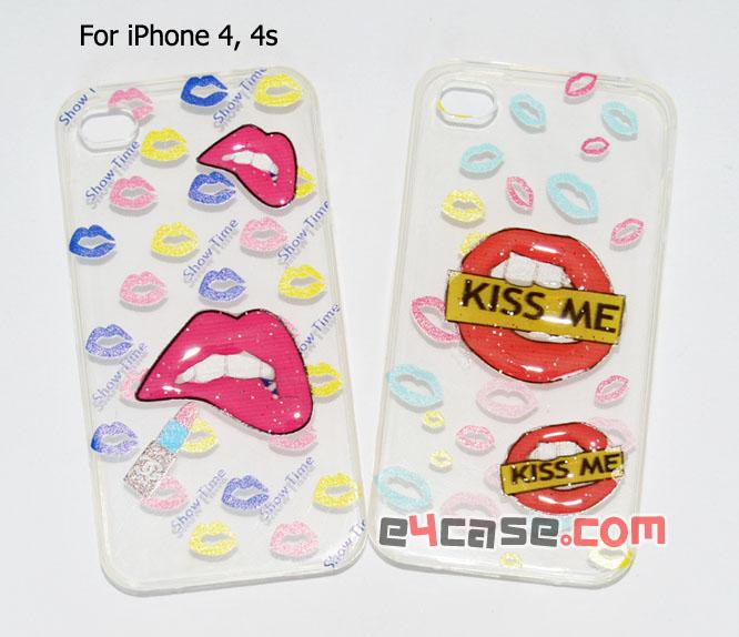 เคส iPhone 4, iPhone 4s - เคสยางใสมีลายนูน