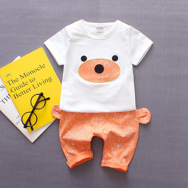**ชุดเซ็ตกางเกงขาสั้นสีส้มรูปหน้าหมีเสื้อสีขาว S-XL   4ตัว/แพ๊ค   เฉลี่ย 165/ตัว