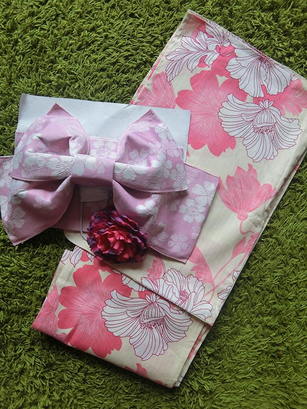 Summer kimono กิโมโนฤดูร้อน (Yukata) Spring Summer รุ่นดอกชบา