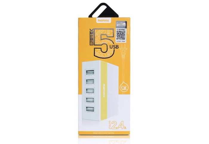 Remax แท่นชาร์ต 5 ช่อง USB (2.1A, 2.4A, 1A X 3) สีเหลือง RU-U1 ของแท้ 100% ราคาลดพิเศษสุด