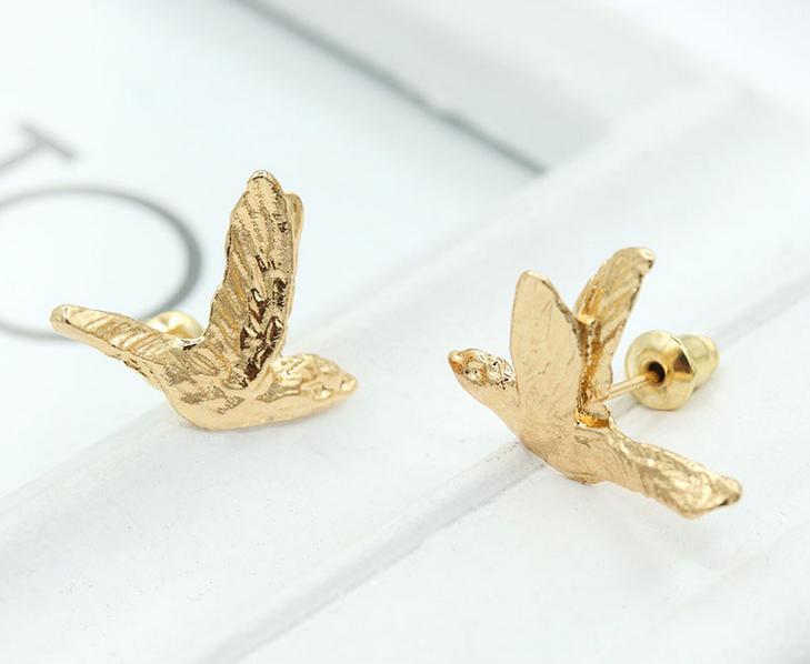 ต่างหูนกบิน สีทอง