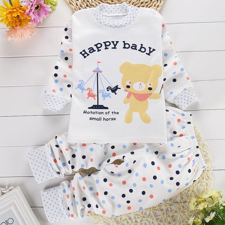 ชุดนอนเด็กเล็ก แขนยาว+ขายาว Happy Bear เนื้อนุ่ม สำหรับเด็ก 1-3 ปี