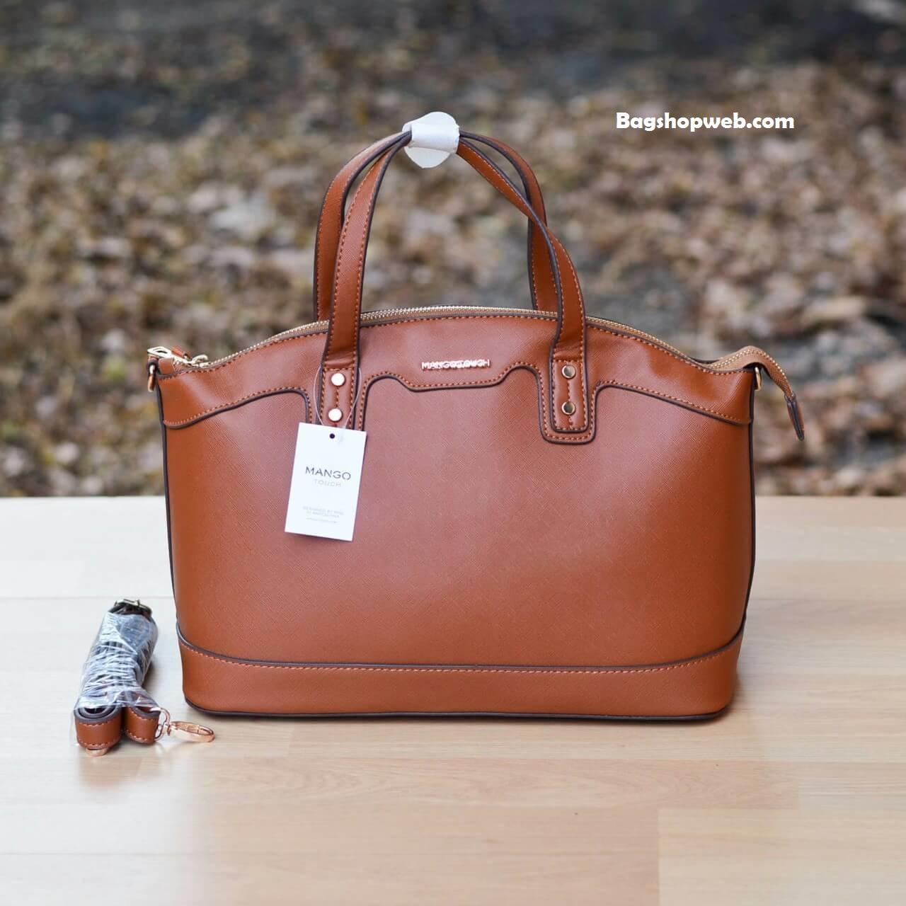 กระเป๋า MANGO SAFFIANO-EFFECT TOTE BAG สีน้ำตาล ราคา 1,090 บาท Free Ems