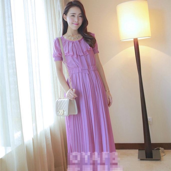 ชุดเดรสยาวแฟชั่นเกาหลี สีม่วง ผ้าชีฟอง เสื้อแต่งระบายน่ารักๆ แขนสั้น กระโปรงพลีท เป็นชุดเดรสสวยหวาน น่ารัก ดูเรียบร้อย ,ชุดออกงาน ไปงานแต่งงานได้ (S M L)