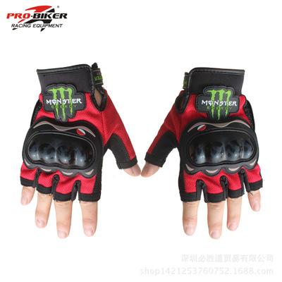 ถุงมือขี่มอเตอร์ไซค์ครึ่งนิ้ว Pro-Biker-Monster สีแดง