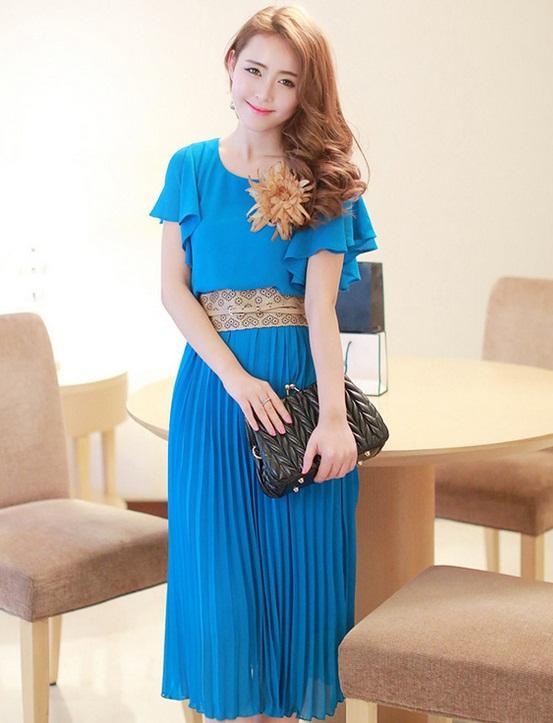 ชุดเดรสออกงาน,ชุดไปงานแต่งงานสวยๆ ชุดเดรสยาว สีฟ้า ผ้าชีฟอง ให้ลุคสาวหวานสไตล์เกาหลี สวยหรู ดูดี ( S M L )