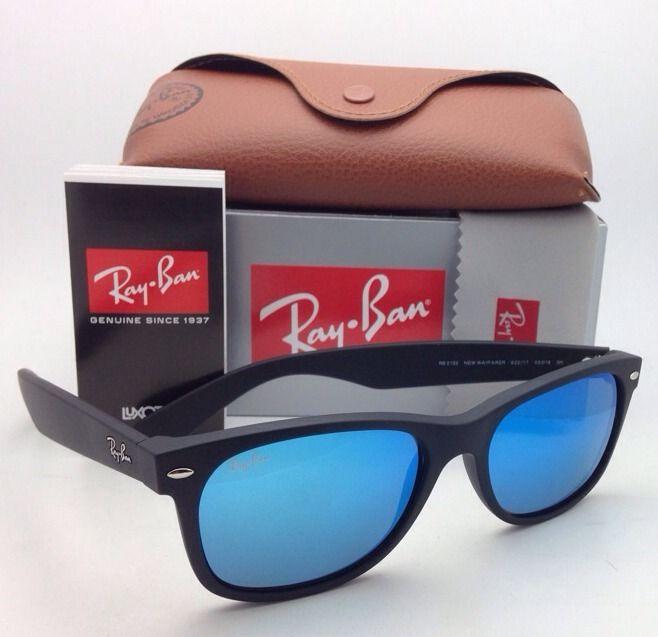 9c29b3785e RayBan RB2132F 622 17 Nre Wayfarer Blue mirror 55mm