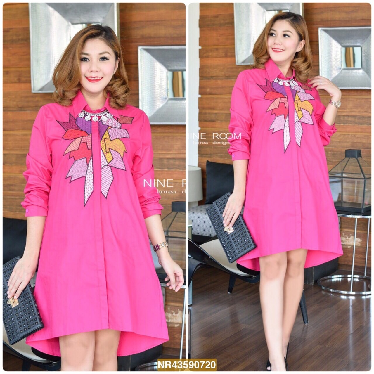 "NR720 **สีชมพูเข้ม**อก 43""STYLENANDA Graphic Embroider With Korea Cotton Shirtdress"