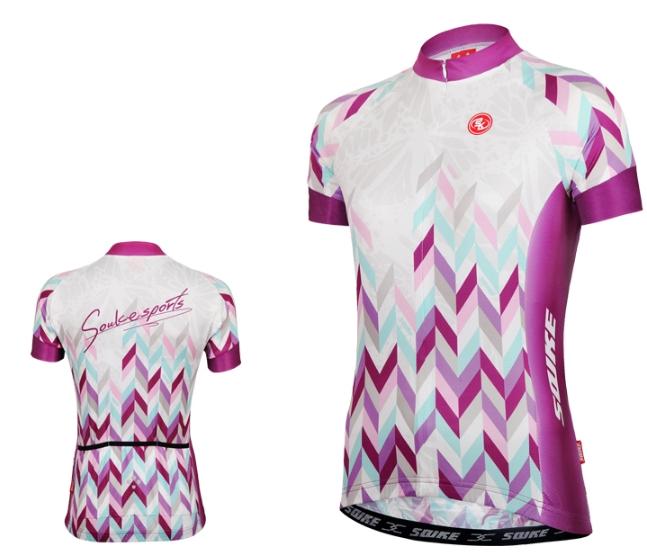 เสื้อปั่นจักรยานแขนสั้นผู้หญิง SOUKE สีม่วง : CL2002