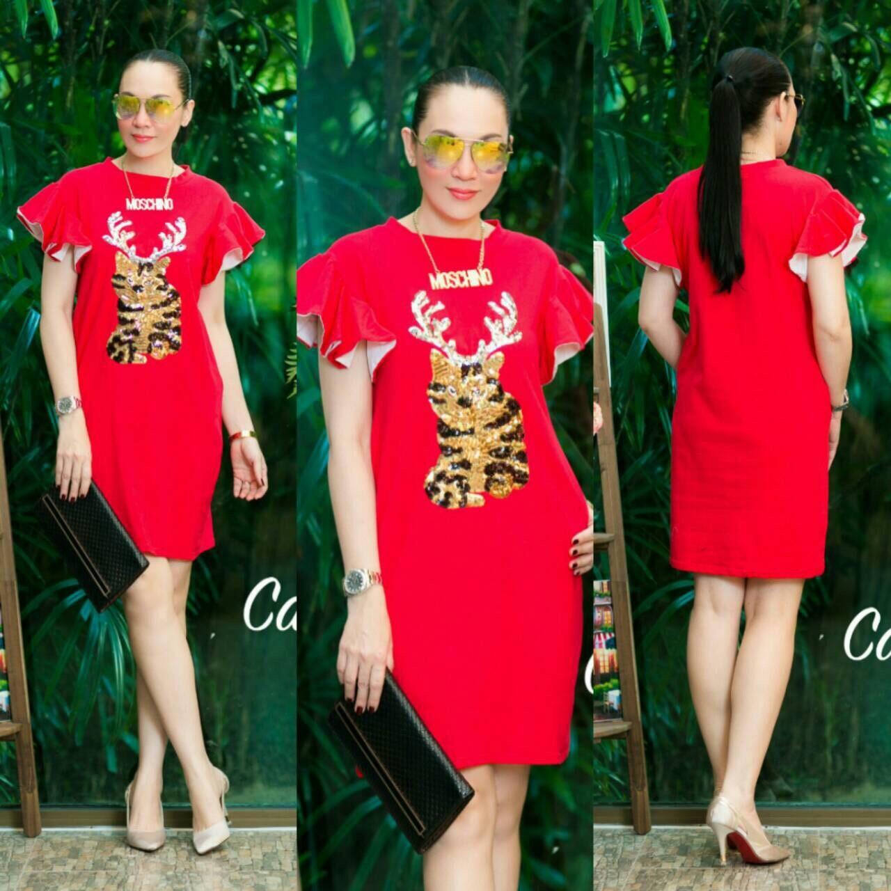 """รหัสTK1261 **สีแดง** รอบอก 40"""" Dress Topshop cotton Korea Sequin Cat Gold"""
