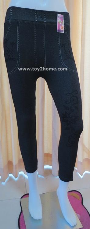 กางเกงเลคกิ้ง 9 ส่วน ผ้าทอ (สีดำ)