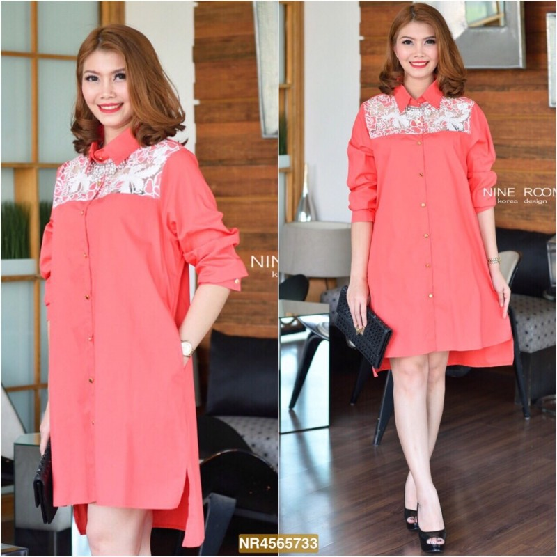 "NR733**สีส้ม**รอบอก 44"" Rose Lace Shoulder With Premium Korea Cotton Shirtdress"