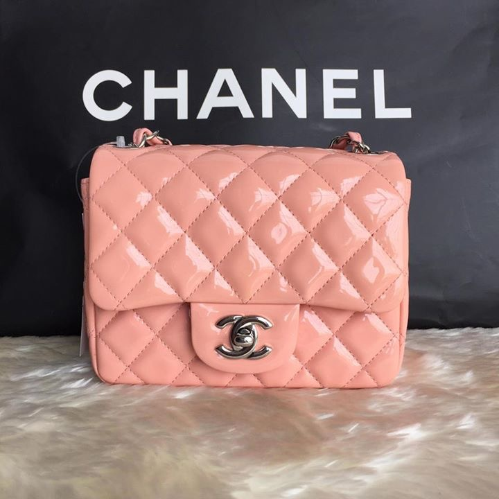 (SOLD OUT)CHANEL mini square 7 patent pink