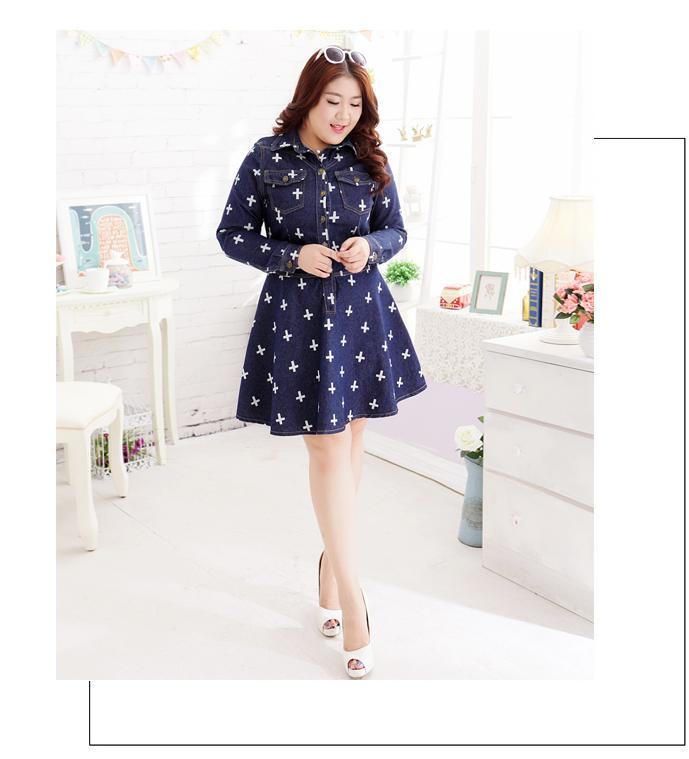 [พรีออเดอร์] เสื้้อเดรสยีนส์แฟชั่นเกาหลีใหม่ สำหรับผู้หญิงไซส์ใหญ่ - [Preorder] New Korean Fashion Dress for Large Size Woman
