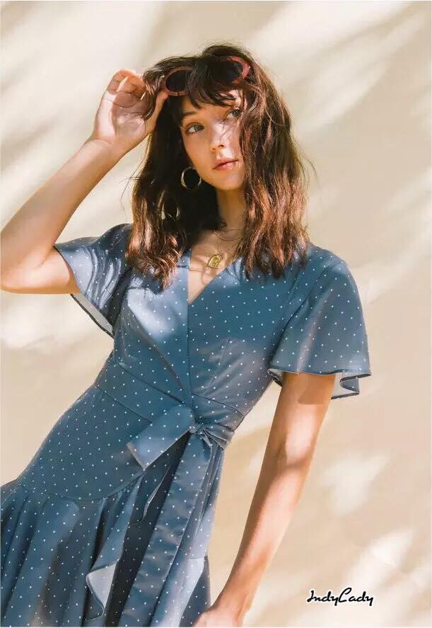 Mini dress แขนสั้น ลายจุด