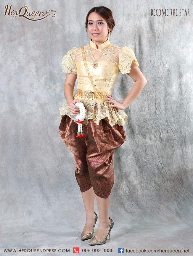 เช่าชุดไทย &#x2665 ชุดไทย ร.5 เสื้อลูกไม้ลายเถาดอกไม้ - สีครีมทอง