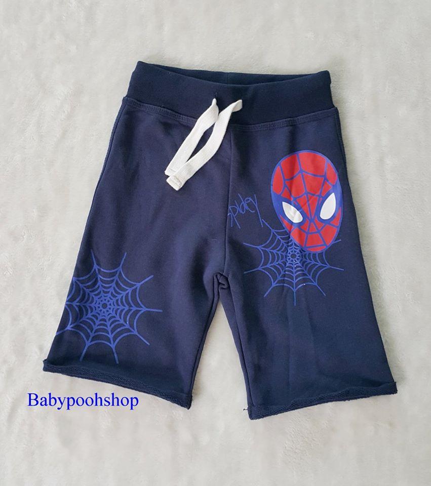 กางเกงขาสั้น เอวยืด สกรีนลาย สไปเดอร์แมนสีน้ำเงิน