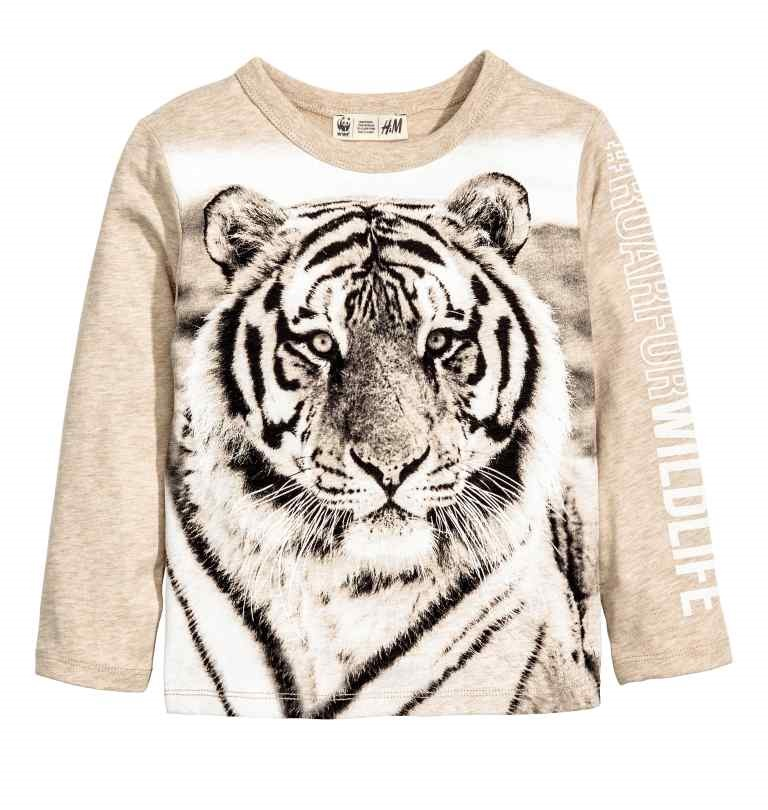 H&M : เสื้อยืดแขนยาว ลาย Tiger สีครีม size : 1.5-2y / 2-4y / 4-6y / 6-8y / 8-10y